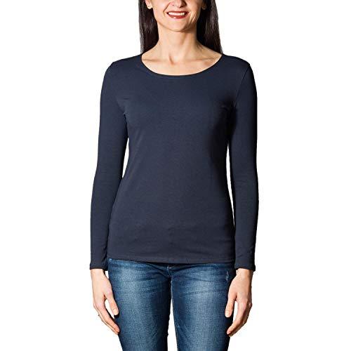 Alkato Damen Langarm Shirt mit O-Ausschnitt, Farbe: Dunkelblau, Größe: XL