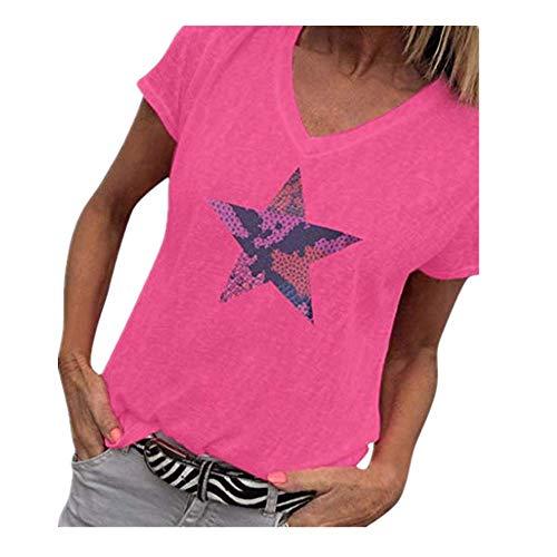 irt, Damen V-Ausschnitt Kurzarm Bluse Stern Pailletten Crop Tops Glänzend Oberteile Lose Sparkle & Shine Sommertop Partytop Modisch ()