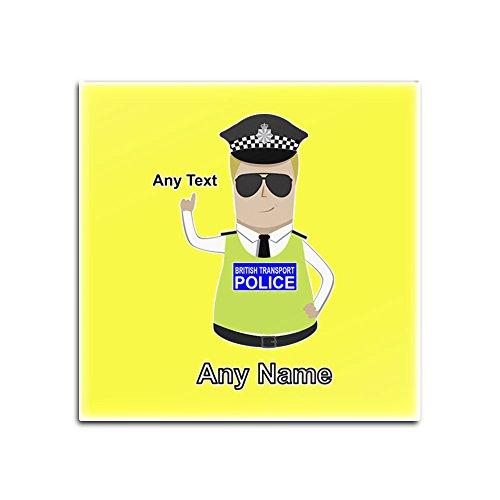 UniGift - Set von 4 glänzenden Untersetzern (Polizei-Designfarbe) mit Namen, einzigartiger Unterlage - BTP - Blonder Polizist Hut Cap, Yelllow, Quadrat (Für Verkauf Polizei-hut)