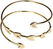 Jules Smith Athena Gold Cuff for Women or Girls: 14k Gold Plated Grecian Style Cuff Bracelet Features a Wrap D