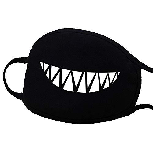 Yanchad Anime-Baumwollmaske, Niedliche Unisex Anti Staub Gesichts Mund Maske für Kinder Teenager Männer Frauen Halloween Zahn Bären Muster (Size : #3) (Halloween Bären, Drei)