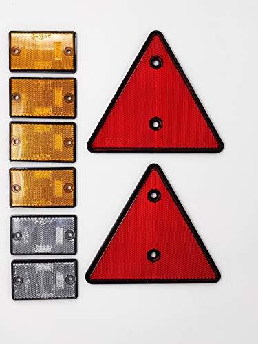 BITS4REASONS Maypole Sicherheits-Reflektor-Set für Wohnwagen und Pferdeboxen, selbstklebend und mit Befestigungsschrauben-Option an der Seite und an der Vorderseite -