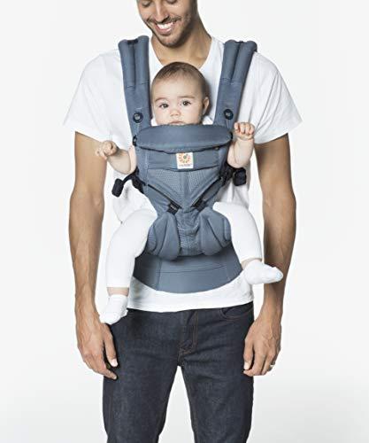 Ergobaby Babytrage für Neugeborene, 4-Positionen Cool Air Mesh Omni 360 Oxford Blau, Baby-Tragetasche Kindertrage Rückentrage - Air Oxford