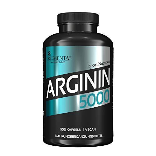 BIOMENTA L-ARGININ 5000 | AKTION!!! | 500 L Arginin Kapseln HOCHDOSIERT | L-Arginin VEGAN | Für Frauen & Männer | SUPER Preis-Leistungsverhältnis