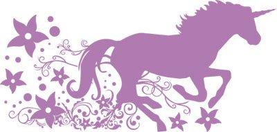 Graz Design 730136_57_042 Wandtattoo Deko für Kinderzimmer Mädchen Wandaufkleber Fantasy Pegasus mit Blumen und Ranken 119x57cm Flieder