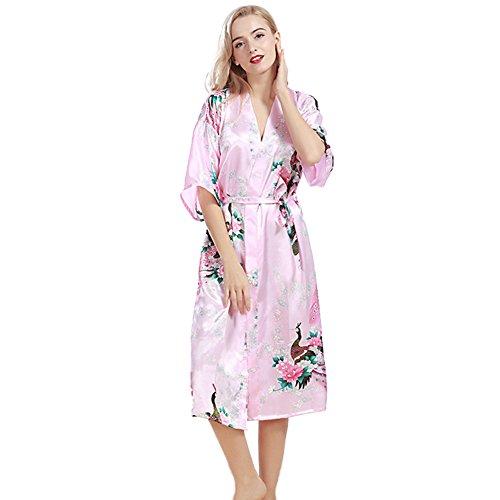 DSJJ Frauen Satin Kimono Robe Spitze Dressing Gown Silk Short Bademantel Nachtwäsche Pyjamas Damen Kurzarm Bademante (Dressing Silk Gown)