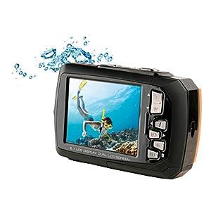 Aquapix-W1400-Active-Unterwasser-Digitalkamera-14-Megapixel-68-cm-27-Zoll-Dual-Display-4-fach-Zoom-Wasserdicht-bis-3m-schwarzorange