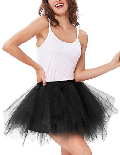 o Petticoat Kurz Rock Ballett Blase 50er Tüllrock Unterröcke 3 Layers Pettiskirt Unterkleid Tanzkleid (Schwarz) (Tutu Rock)