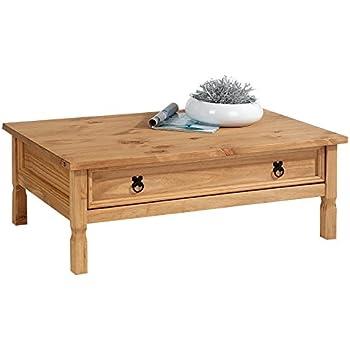 site réputé a48c6 d9f3e IDIMEX Table Basse de Salon Tequila rectangulaire Style Mexicain avec 1  tiroir, en pin Massif Finition teintée/cirée