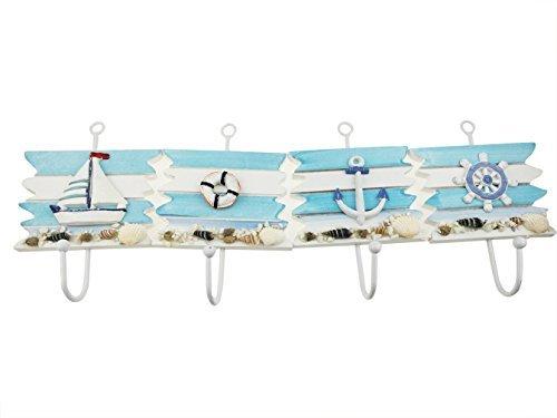 ivholz groß Nautical Wand hängende Dekoration Haken zum Aufhängen Schlüssel Tuch Tapisserie Pflanzen Metall Haken Home Decor Seitenruder Rettungsring Segelboot Anchor 4PCS (Nautische Hängende Dekorationen)