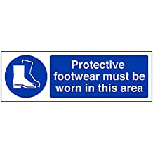 """VSafety 41091AX-S """"Protective Footwear Must Be Worn In This Area"""" Mandatory PPE Sign, Self Adhesive, Landscape, 300 mm x 100 mm, Blue"""