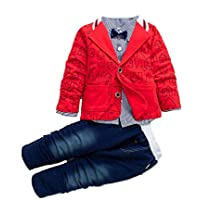 Bold N Elegant Solid Full Sleeve Jacket Coat Blazer with T-Shirt and Denim Blue Trouser Pant 3 Pc Party Suit Set for…