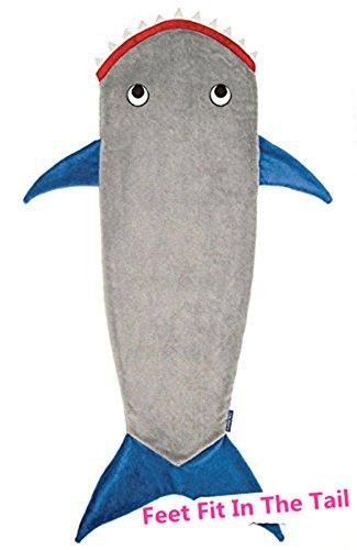 Wootly Haifisch Schwanzes Kuscheldecke,Super Weich Shark Decken,Sie können sich Ihre Füße in die Flossen,Fleecedecke für Teen/Erwachsene 70 x 27 inch,Blau
