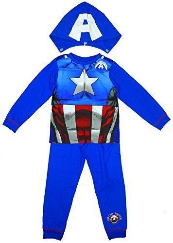 Jungen Marvel CAPTAIN AMERICA Neuheit Kostüm Schlafanzüge mit Kaputze größen von 2 bis 8 jahren - Blau - Blau, Jungen, Größe 98, Blau (Captain America Kostüme Ideen)