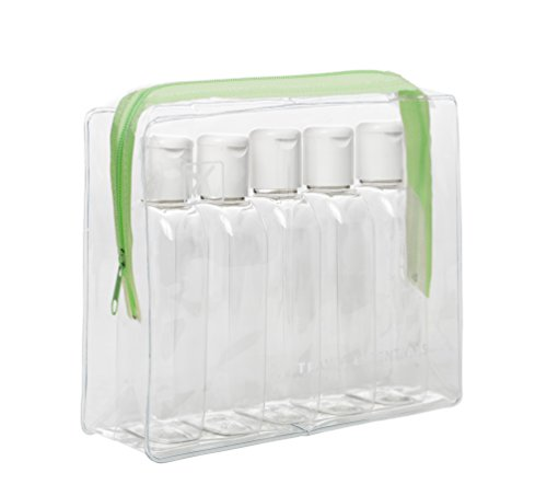 Clair d'avion Vol Voyage Cabine bouteilles 100 ml – Coque transparente + 5 bouteilles – Sécurité Approuvé – Vert