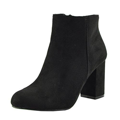 Donne chelsea stivaletti bassi a metà del blocco scarpe con il tacco - uk5 / eu38, nero