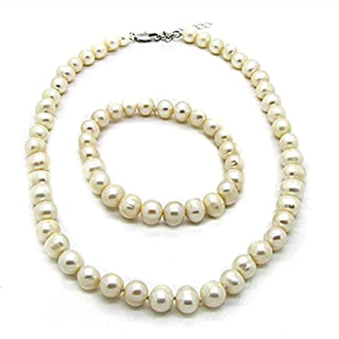 Simplicity 8 mm fresh water pearl necklace and bracelet set