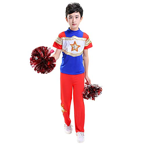 ostüm Cheerleading Cheerleader Uniform Mädchen Jungen Karneval Fasching Party Halloween Kostüm mit 2 Pompoms Socken (Jungen 130) ()