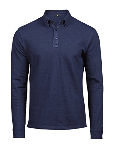 Tee Jays TJ1412 Fashion Herren Luxury Stretch Polo Poloshirt Langarm, Größe:XL, Farbe:Denim