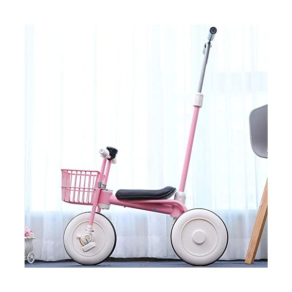 GIFT Lightweight Children's Trolley -2 In 1 Kid's Trike High Carbon Steel Detachable Push Rod 5.5kg Multi-color Optional,Pink GIFT Material: high carbon steel + ABS + EVA wheel Features: The push rod can be adjusted to height, suitable for people of different heights; the front wheel is clutched, safer, the handle is turned to 30° limit, anti-rollover Performance: high carbon steel frame, stronger and stronger bearing capacity; EVA wheel is non-slip wearable, suitable for all kinds of road conditions, good shock absorption capacity, artificial leather seat, baby ride more comfortable 2