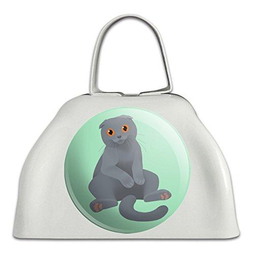 Schottische Katzenklingel mit Kuhglocke, Metall, Weiß