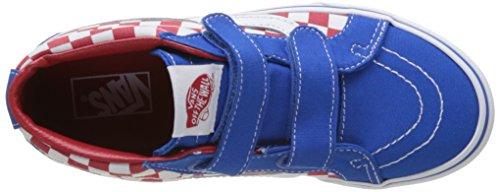 Vans Uy Sk8-Mid Reissue V, Sneakers Hautes Garçon Bleu (Checkerboard Racing Red/imperial Blue)
