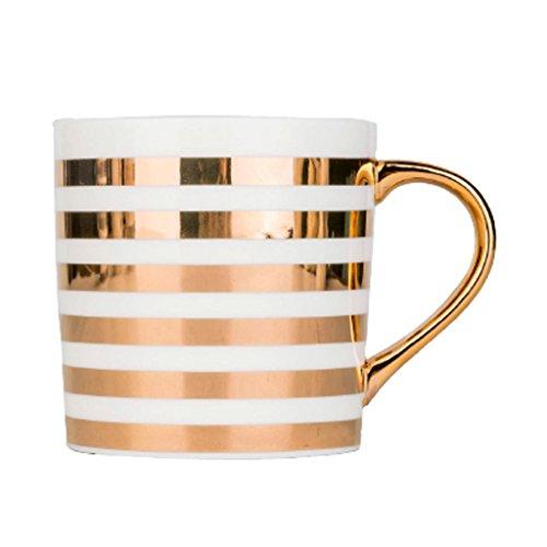 Tasse en céramique créative européenne tasse sans couvercle tasses simples de couple tasses de café de ménage tasses de lait (Color : Gold horizontal lines)