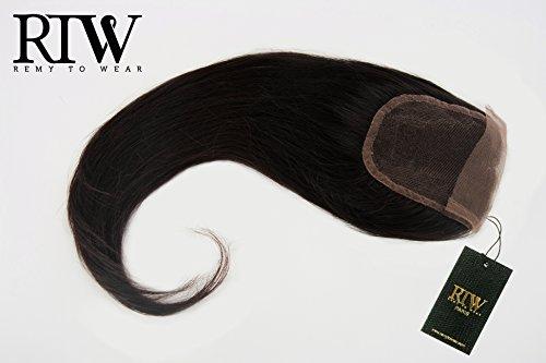 RemyToWear extensions Closure cheveux vierges lisses de taille 40 centimètres. Couleur 1B. Chaque paquet contient 40 grammes.