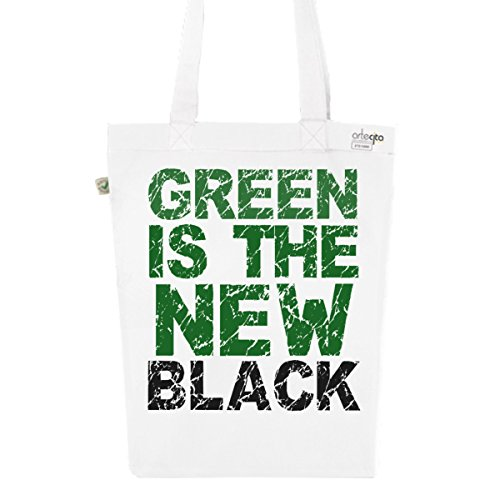 Tote Bag Blanc Imprimé - Toile en Coton Bio - Green is the new black