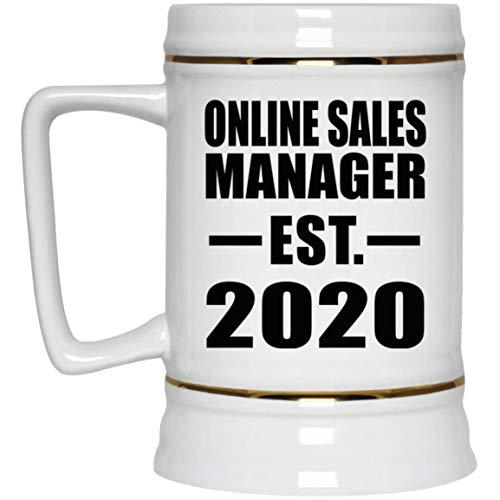Online Sales Manager Established EST. 2020-22oz Beer Stein Bierkrug Keramik Bierhumpen Bar Becher Kneipenkrug - Geschenk zum Geburtstag Jahrestag Muttertag Vatertag Ostern Sale Vintage Milk Glass