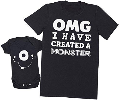 eiß Monster! - Passende Mutter Baby Geschenk Set - Damen T-Shirt & Baby Strampler - Schwarz - XXL & 62/68 (3-6 Monate) (Monster Onesies Für Erwachsene)