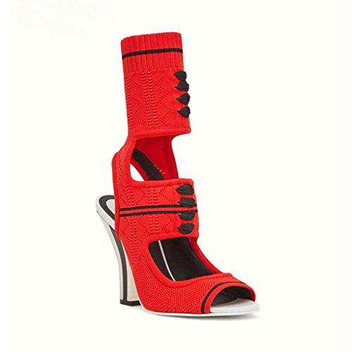Frauen High Heels Stiefel Sandalen Mode Römischen Stil Knöchel Peep Toe Plattform Glänzende Schnallen Abend Party Red Pump Court Schuhe,EU42 Womens Römischen Stil Kleid