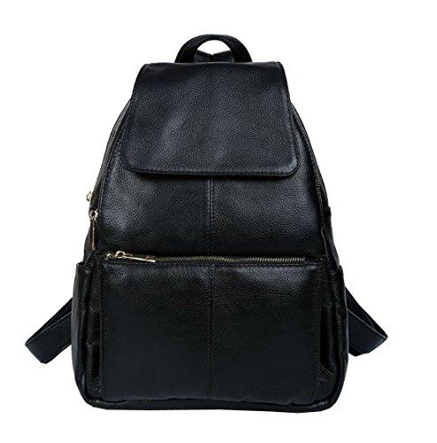 Obere Schicht Kuh Leder Rucksäcke, berchirly Echt Leder Freizeit Reise Handtaschen Schultertasche CUTE Student Schultasche schwarz schwarz