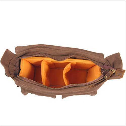 Canvas Schulterkamera Messenger, Multifunktions-Crossbody-Tag-Tasche Laptoptasche für Reisen, Alltag,Brown