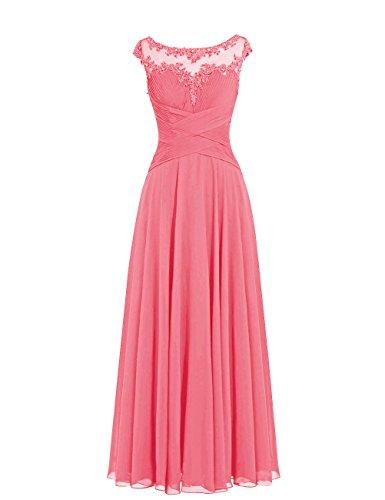 Dresstells, robe de soirée mousseline, robe longue de cérémonie, robe longueur ras du sol de demoiselle d'honneur Corail