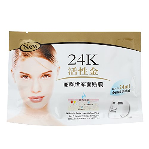 SODIAL(R) 10PCS Masque Soin Visage Facial 24K Or Anti Ride Age Cosmetique