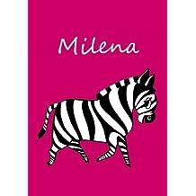 Milena: personalisiertes Malbuch / Notizbuch / Tagebuch - Zebra - A4 - blanko
