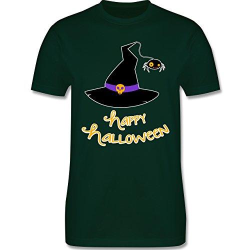 Halloween - Hexenhut Happy Halloween - Herren Premium T-Shirt Dunkelgrün