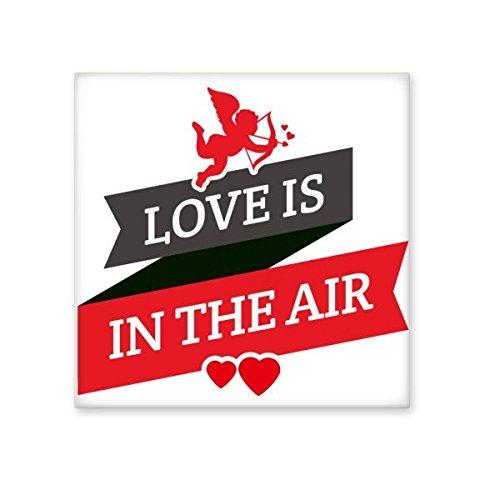 DIYthinker Rote und schwarze Valentinstag-Liebe ist in der Luft Bild mit Banner Herz und Engel Illustration Muster Keramik Bisque Fliesen für Dekorieren Badezimmer- M -