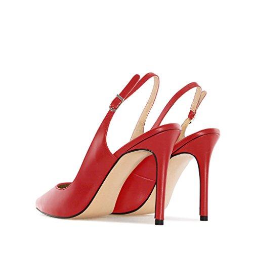 EDEFS - Scarpe col tacco donna - Scarpe con Cinturino dietro la Caviglia - Donna Slingback Scarpe Rosso