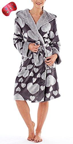 i-Smalls Frauen Kapuzen-Fleece-Robe mit Jacquard-Herz Herz über Herz-Druck mit Herz-Augenmaske (40-42) Grau (Herz-flanell-pyjama)