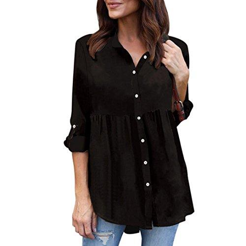 ESAILQ Damen Übergröße Solide Lange Ärmel Lässige Chiffon Damen OL Arbeit Tops T-Shirt