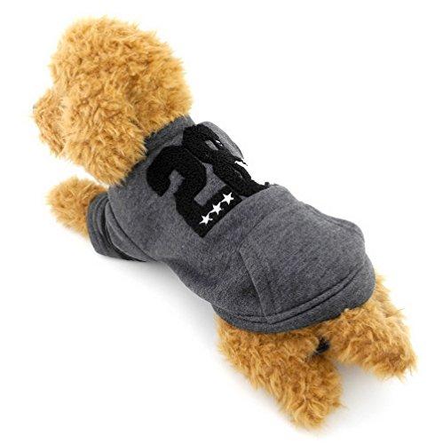 ert Warme Welpen Sweatshirt Jacke Pet Wintermantel Druck Kleine Hund Katze Kleidung Mädchen Jungen Freizeit Grau L (Beste Weibliche Halloween-kostüme)