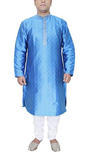 Schlafanzugoberteil Herren Langarm Indische Tunika Stickerei Handarbeit Hochzeit Kleidung Größe - 107 cm (Kurta Stickerei)
