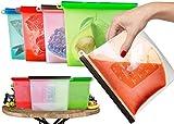 Bolsas alimentos reutilizables hechas silicona lavable vacío, perfectas para almacenar carne fresca sopa de frutas y verduras completamente selladas puede utilizar para microondas congelar conservar