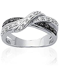 ISADY - Oceana - Women's Ring - 925 Sterling Silver - Cubic Zirconia Clear and Black