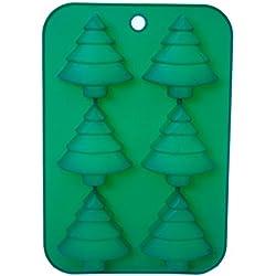 Excelsa - Molde de silicona con forma de 6 árboles de navidad mini, color verde