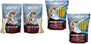 Meat up Calcium Bone Pouch, Dog Treats - 25 Pieces (230 gm) (Buy 1 GET 1 Free) & Meat Up Munchy Sticks, Ch