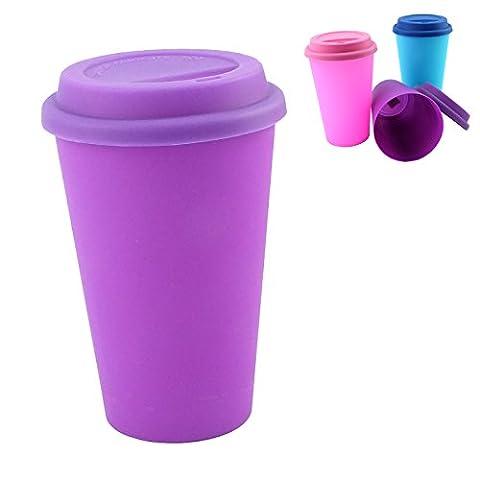 Tasse et Couvercle couleur uni–Tasses avec couvercles, Violet, Pack of 1