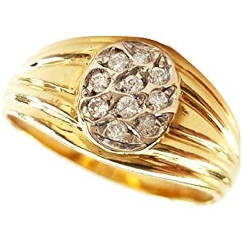 Anello Donna Uomo Oro Giallo 18kt 750/000 con diamanti 0,15 CT G - H - VS